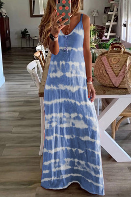 Navy Tie Dye Spaghetti Straps Plus Size Dress