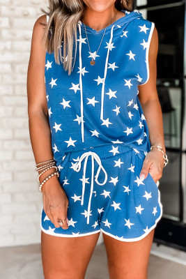 Blue Stars Hooded Sleeveless Top Shorts Loungewear Pajamas Set