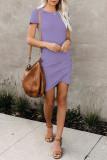 Purple O-Neck Short Sleeve Dress