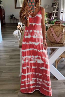 Wine Red Tie Dye Spaghetti Straps Plus Size Dress