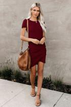 Wine Red O-Neck Short Sleeve Dress