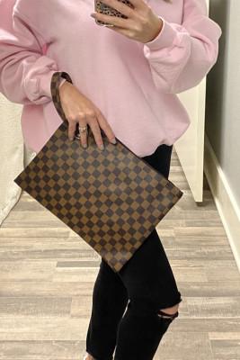 Brown Checkered Print Clutch
