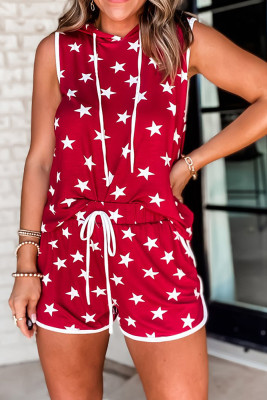 Red Stars Hooded Sleeveless Top Shorts Loungewear Pajamas Set