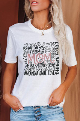 Mama Printed Crew Neck Short Sleeve Top