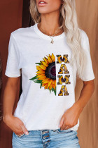 White Printed Crew Neck Short Sleeve Top