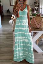 Light Blue Tie Dye Spaghetti Straps Plus Size Dress