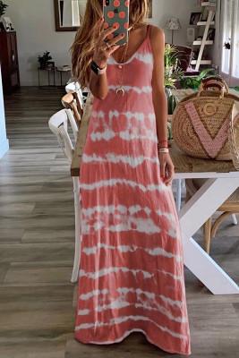 Pink Tie Dye Spaghetti Straps Plus Size Dress