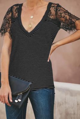 Black Stripe V Neck Lace Sleeve Top