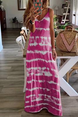 Rose Red Tie Dye Spaghetti Straps Plus Size Dress