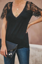 Black  V Neck Lace Sleeve Top