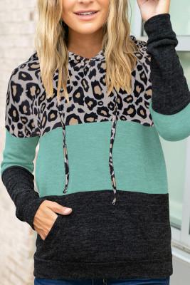 Green Leopard Printed Splicing Hoodie