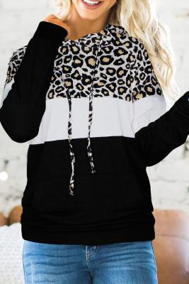Black Leopard Printed Splicing Hoodie