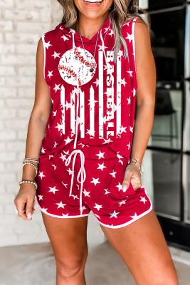 Red Stars Printed Sleeveless Top Shorts Loungewear