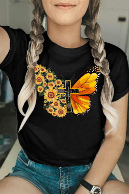 Black Butterfly Print Graphy Short Sleeve Tee