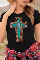 Black Cross Print Splicing Short Sleeve T-shirt