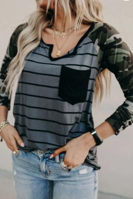 Striped Camo V-Neck Long Sleeve Top
