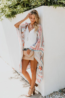 Casual Chiffon Print Sunscreen Blouse Kimono