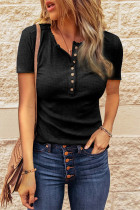 Black Button Round Collar Knit Short Sleeve Top