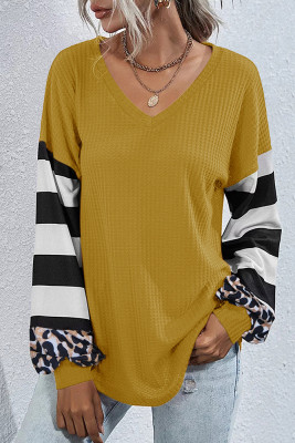 Yellow Leopard Striped Splicing V-Neck Long Sleeve Top