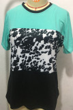 Leopard Contrast O-Neck Short Sleeve T-shirt