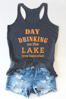 Navy Letter Printed Tank Top