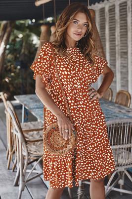 Orange Polka Dot Ruffle Sleeve Mini Dress