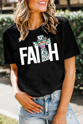 Black FAITH Print Splicing Short Sleeve Tee