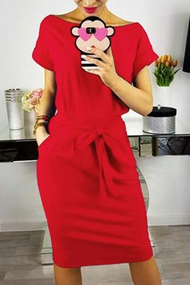 Red Elastic Waist Short Sleeve Dress with Pocket