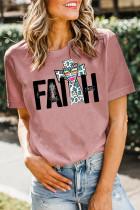 Pink FAITH Print Splicing Short Sleeve Tee