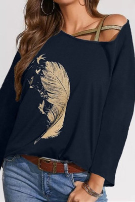 Navy Cross Straps Feather Printed Bat Sleeve Top