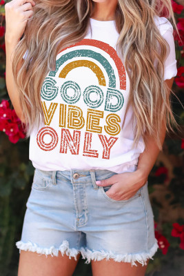 White GOOD VIBES ONLY Short Sleeve Tee