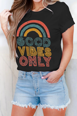 Black GOOD VIBES ONLY Short Sleeve Tee