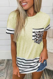 Yellow Striped Patchwork O-Neck Short Sleeve Top