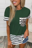 Green Striped Patchwork O-Neck Short Sleeve Top