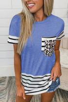 Blue Striped Patchwork O-Neck Short Sleeve Top