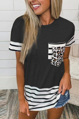 Black Striped Patchwork O-Neck Short Sleeve Top
