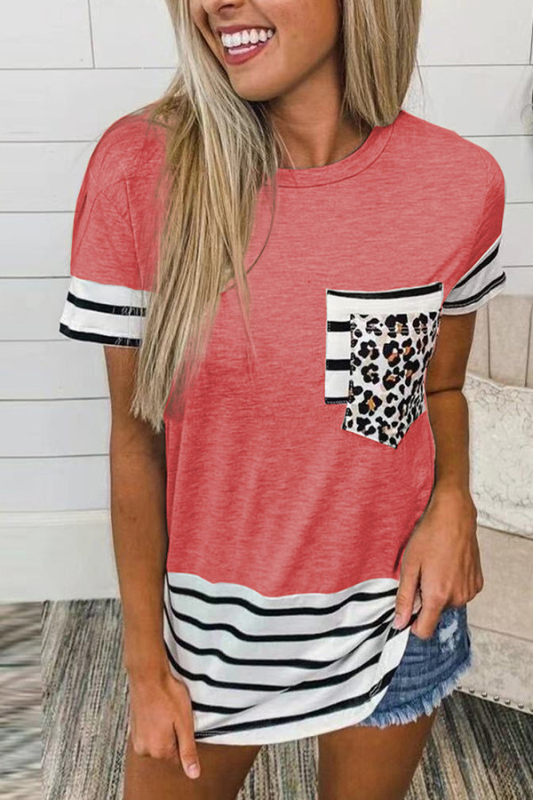Pink Striped Patchwork O-Neck Short Sleeve Top