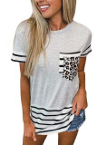 White Striped Patchwork O-Neck Short Sleeve Top