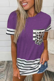 Purple Striped Patchwork O-Neck Short Sleeve Top