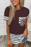 Wine Red Striped Patchwork O-Neck Short Sleeve Top