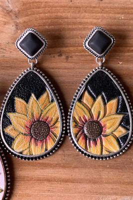 Black Retro Tophus Sunflower Eardrop Earrings