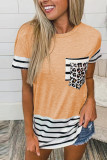 Orange Striped Patchwork O-Neck Short Sleeve Top