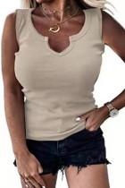 Kahki Solid Color Casual V-Neck Tank Top Vest