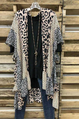Leopard Print Patchwork Kimono Cover Up