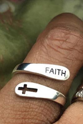 Silver  Simple Cross&Faith Ring