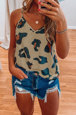 Khaki Printed V-Neck Vest Tank Top