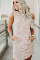 Apricot Leopard Print Sleeveless Hooded Dress with Pockets