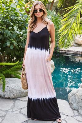 Gradient Color  Sleeveless Suspender  Dress