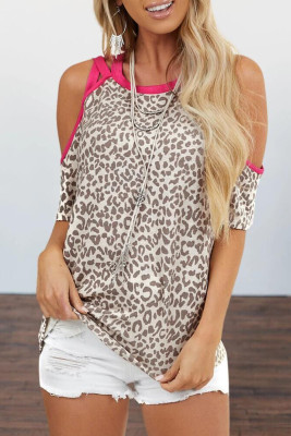 Leopard Off Shoulder Short Sleeve Top