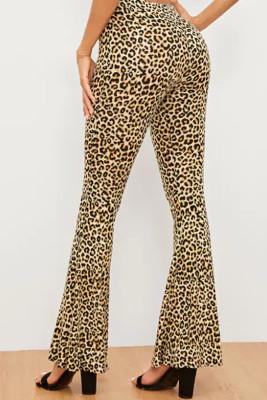 Leopard Print Casual Bell Pants